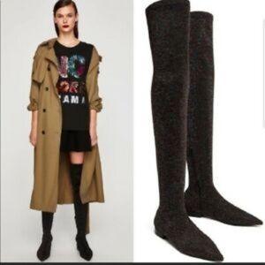 Zara Rainbow Glitter Over the Knee OTK Sock Boots